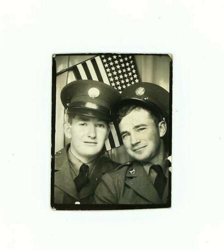 Vintage 1941 PHOTO BOOTH Photo 2 Handsome WWII SOLDIER BUDDIES w/ American Flag