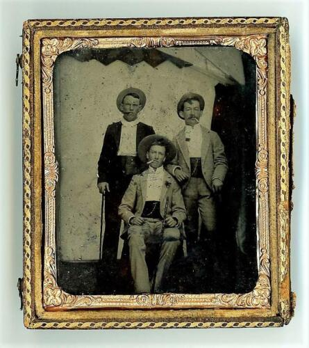 Antique 1870's Tintype GAMBLERS / OUTLAW Tough Guys SMOKING CIGARETTES 1/2 Case <br/> 3 Old West Style Riverboat Gambler Type Fashionable Men