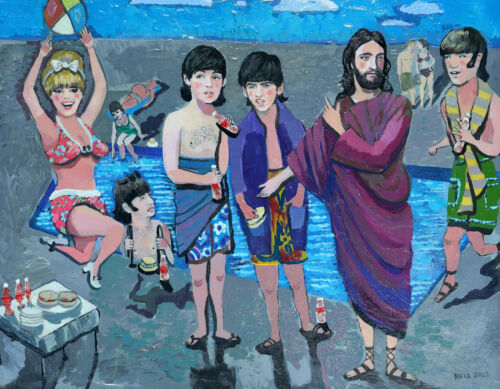 BEATLES with Jesus at BEACH, Painting, Kata Billups; showed with Howard Finster