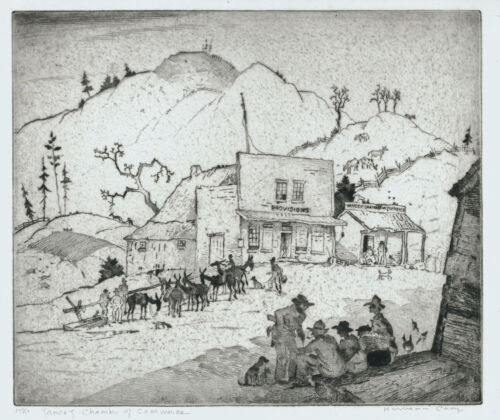 Harrison Cady etching, rare, Yancey Chamber of Commerce, pencil signed