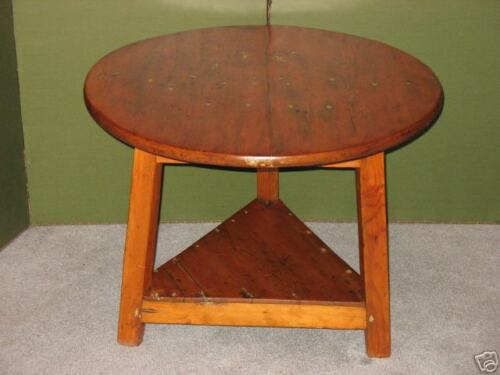 ANTIQUE PINE CRICKET STOOL TABLE CA 1800 MORTISE TENON