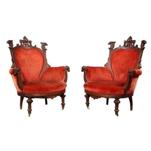 Pair of American Victorian Eagle Antique Arm Chairs 1800-1899 #7144