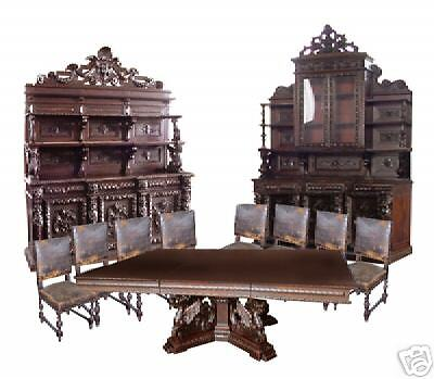 19th C. Italian 11-Piece Carved Walnut Antique Dining Suite c. 1890 #5152