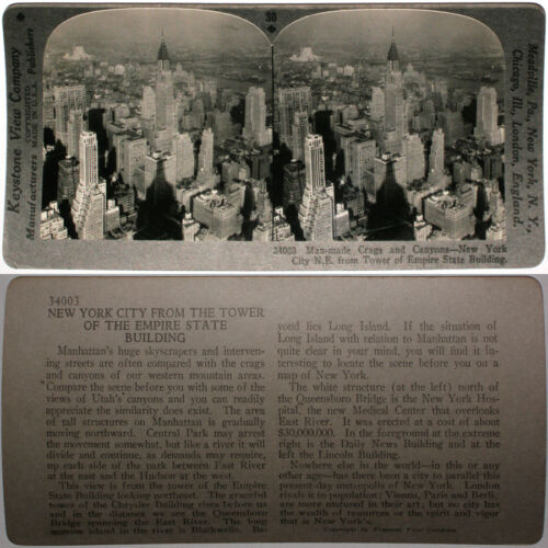 Keystone Stereoview Skyscrapers, NYC, Empire State Bldg from 600/1200 Card Set B