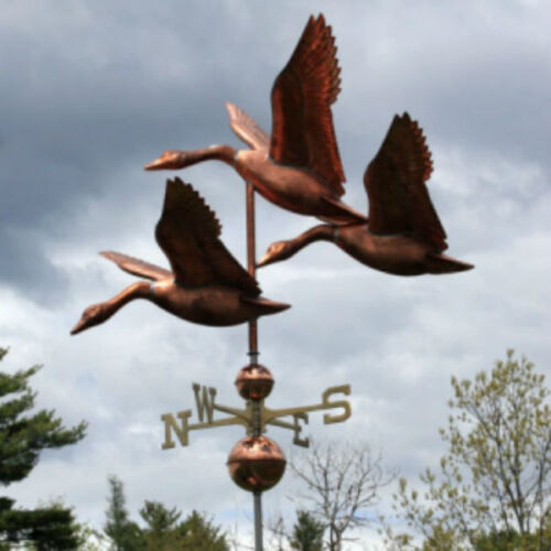 """COPPER """"FLOCK OF GEESE"""" WEATHERVANE MADE IN USA #354"""
