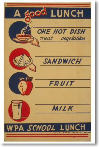 A Good Lunch - Vintage School Healthly Eating Food - NEW WPA Reproduction POSTER