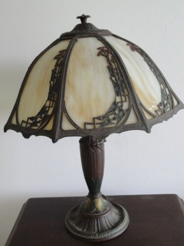RAINAUD ART NOUVEAU 8 PANEL SLAG GLASS LAMP * SIGNED