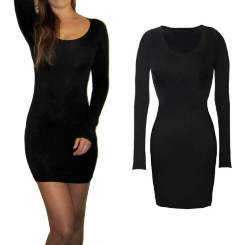 Womens Ladies Long Sleeve Style Bodycon Mini Stretch Dress Size 8 10 12 14 16 18 <br/> Party Black Dresses Evening Cocktail Casual Winter Sexy