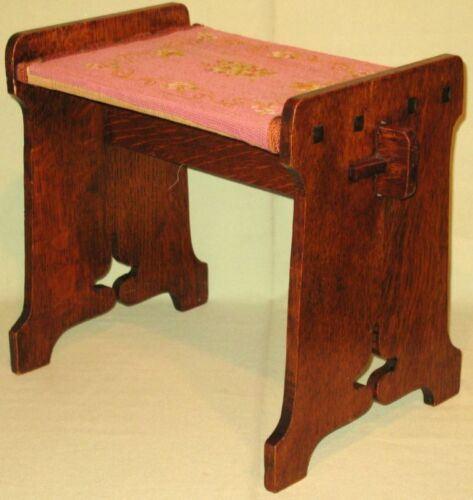 ANTIQUE MISSION OAK STOOL BENCH SEAT STAND NEEDLEPOINT