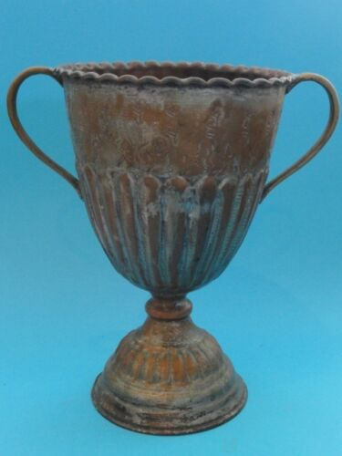 ANTIQUE MIDDLE EASTERN COPPER TWO HANDLED CUP ~ 9.5""
