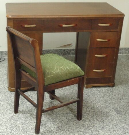 ART DECO DESK WITH BAKELITE FIXTURES & HOOVER CO CHAIR