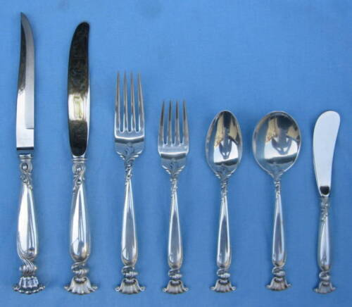 Wallace 109 Romance of the Sea Sterling Flatware Set 12  MAGNIFICENT