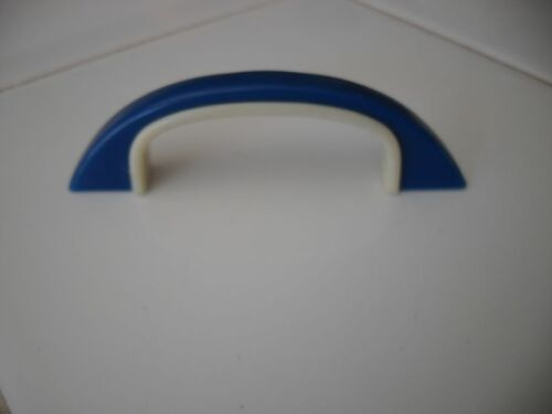 VINTAGE 1960's DRAWER PULLS Cabinet Door Handles BLUE WHITE IVORY Early Plastic
