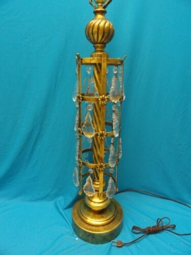 """MID CENTURY TOLE  ITALIAN TOLEWARE TABLE LAMP with CRYSTAL DROPS ~ 38"""""""