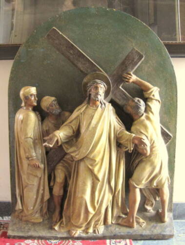 17th Century Carved Wooden Jesus At Second Station Of Cross Statue  MAGNIFICENT