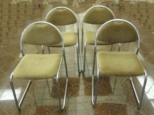 4 x MODERN 70's NICKEL CHROME DINING LOUNGE CHAIR SAPORITI ERA * MADE IN ITALY