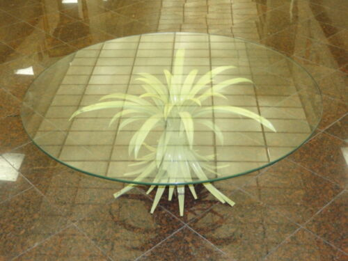 1960's SHABBY MID CENTURY TOLE PALM LEAF COFFEE TABLE with GLASS TOP  * ITALY