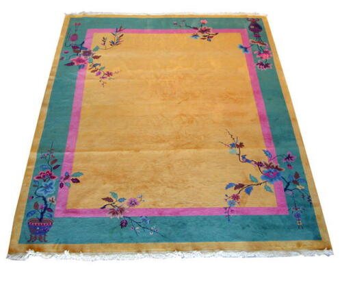 Nichols Chinese Art Deco Rug with Floral Motif circa 1920 #6476