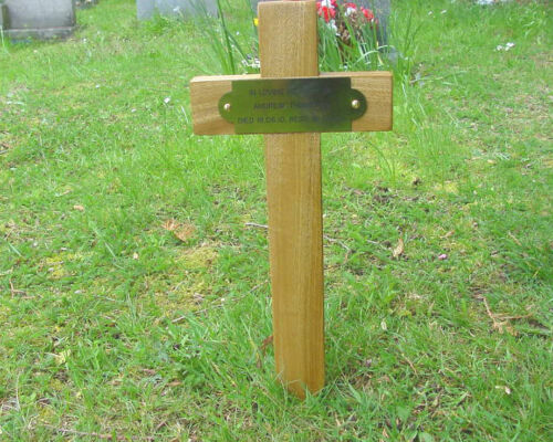 """Wooden Memorial Cross Grave Marker Oak 17"""" & Free Plaque & Free Engraving <br/> Thousands Sold World Wide And Any Quantity Big or Small"""