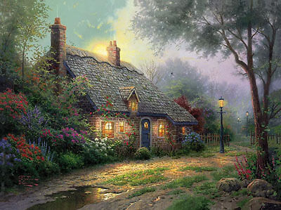 Moonlight Cottage by Thomas Kinkade SN Limited Edition 24 X 30