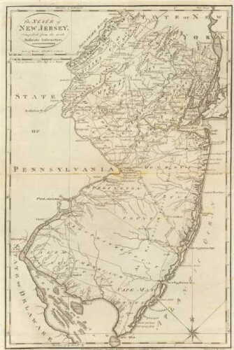 NJ 1795 MAP Point Pleasant Princeton Meadows River Edge New Jersey History HUGE