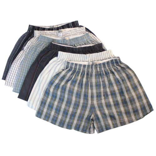 6 x Woven Classic Cotton Blend Loose Boxer Shorts with Elastic Waist Band