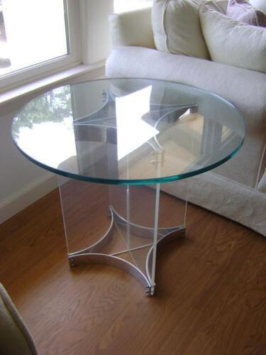 MID CENTURY MODERN ALESSANDRO ALBRIZZI SIDE END TABLE CHROME LUCITE GLASS ITALY