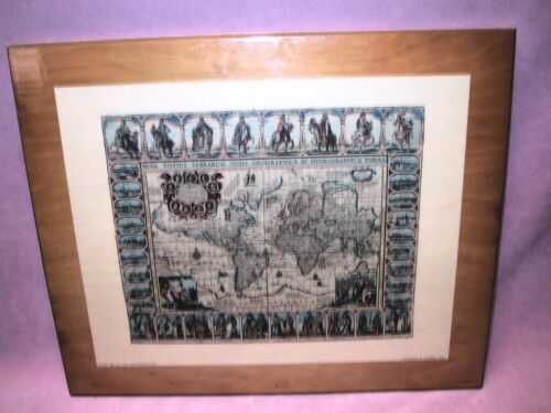 """The World by Jansson 1632  D.A.C Reproduction USA 1693 Under Schellac  17"""" x 14"""""""