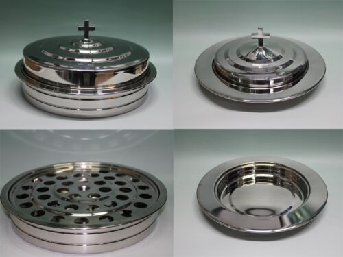 Silvertone--Stainless Steel Communion Tray set and Bread Tray set <br/> FREE DOMESTIC SHIPPING,30 DAYS RETURN