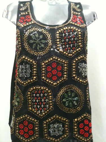 Womens Ladies New Jazzy Colourful Sequin Shapes Camisole/Top (Sizes 8 - 16) 1270