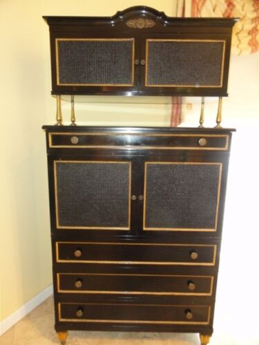 RARE CHIC 40's GROSFELD HOUSE  BLACK LACQUERED CABINET w/ CANE WORK & BRASS