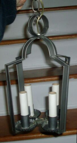 Tole Tin Four Light Colonial Hall Candle Lantern and Ceiling Cap Crimped Edges