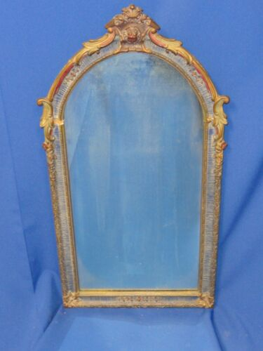 ANTIQUE 19 c POLYCHROME  MIRROR w/ FLOWER & FOLIAGE