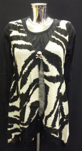 Womens Ladies New BLACK Top with Attached Animal Print Knitted Waistcoat(8 - 16)