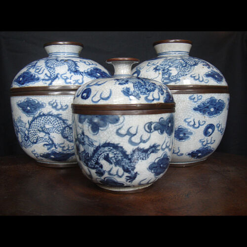 * Chinese New Year Feng Shui * Antique Blue & White Dragon Covered Bowls