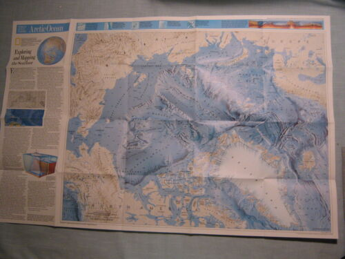 ARCTIC OCEAN FLOOR +ATLANTIC OCEAN FLOOR MAP National Geographic January 1990