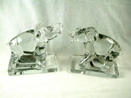 New Martinsville Glass Crystal 1940's Pair of Elephant Bookends
