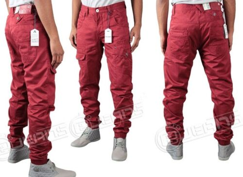 NEW MENS DESIGNER ETO JEANS EM364 CUFFED RED CHINOS LATEST IN STYLE *BARGAIN*