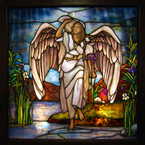 Stained Glass Angel Window Attr: Tiffany, Antique  #7547
