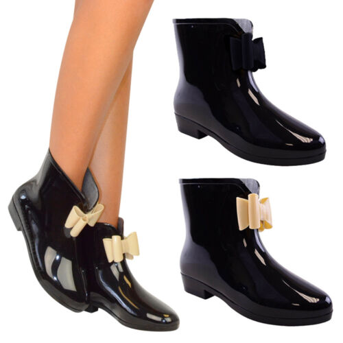 LADIES WOMENS BOW WELLINGTON ANKLE BOOTS WELLIES RAIN SNOW - BLACK OR NUDE BOW