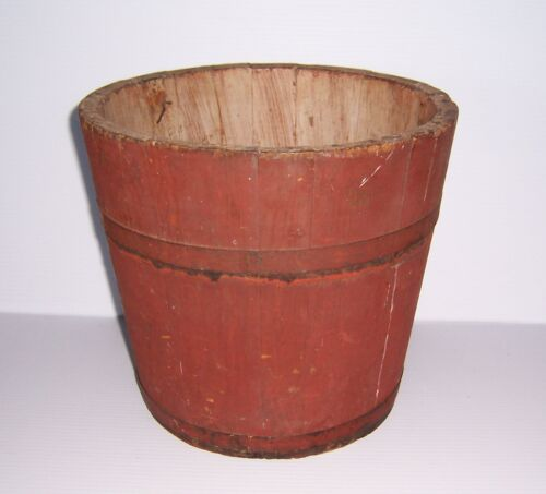 ANTIQUE PRIMITIVE SHAKER WOODEN RED PAINTED WOOD SAP BUCKET