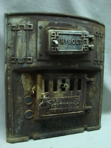 """RARE LARGE 1800's CAST IRON STOVE COVER """"THE RYBOLT HEATING CO. CINCINNATI OH"""""""