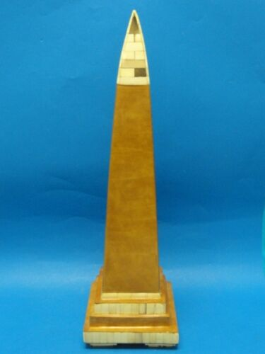 """VINTAGE 70's  LEATHER COVERED w/ TESSELLATED BONE OBELISK COLUMN STAND ~ 23"""""""
