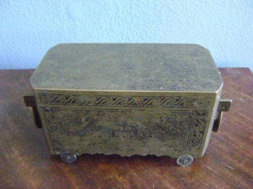 ANTIQUE BETEL NUT BOX JEWELRY CASE SMOKE COINS BRONZE BRASS INLAID WHEELS EXOTIC