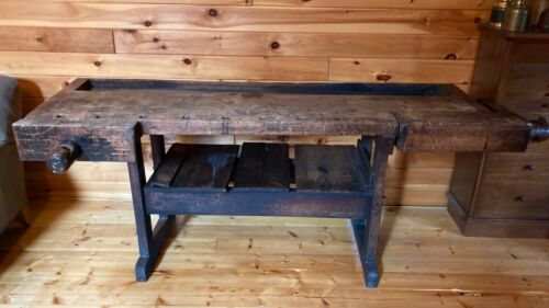 Antique Late 1800's Carpenters Woodworkers Wood Bench 2 Vises Hall Table Decor
