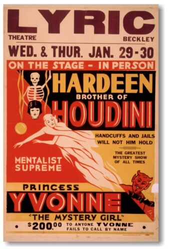 Hardeen Brother of Houdini - NEW Vintage Reproduction POSTER