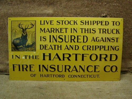 Vintage Hartford Insurance Sign Antique Old NOS 6119