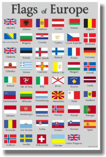 Flags of Europe - NEW World Travel POSTER