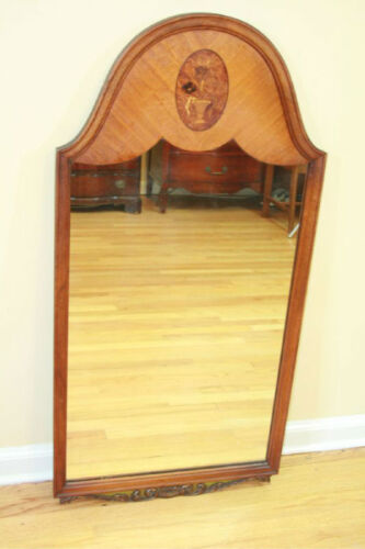 Antique Wood Inlaid & Carved Wall Mirror Brown 1920-1940 Inlay Marquetry