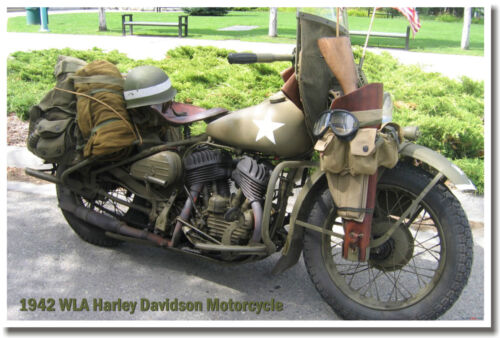 1942 WLA Harley Davidson Motorcycle Military Army WWII - NEW POSTER - Great Gift